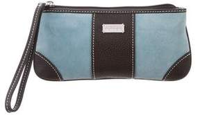 Lambertson Truex Leather-Trimmed Suede Clutch