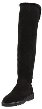 Aquatalia Kiara Over-The-Knee Suede Boot with Shearling