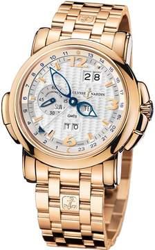 Ulysse Nardin GMT Perpetual Silver Dial 18kt Rose Gold Men's Watch 326-60-8-60