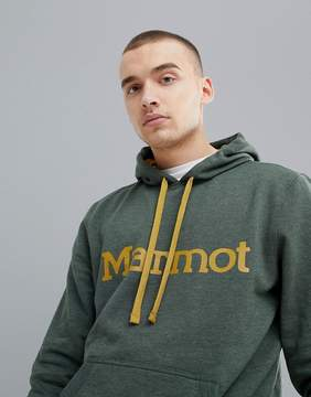 Marmot Hoodie With Chest Logo in Green