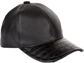 Stefano Ricci Crocodile Skin and Leather Cap