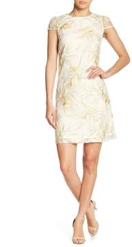 Donna Ricco Cap Sleeve Embroidered Mesh Dress