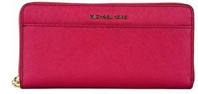MICHAEL Michael Kors Continental Jet Wallet Set In Black Saffron Leather - CRANBERRY - STYLE