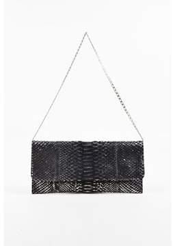 Carlos Falchi Pre-owned Metallic Silver & Black Python Snakeskin Chain Strap Clutch Bag.