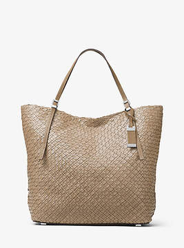 Michael Kors Hutton Large Woven-Leather Tote - GREY - STYLE