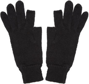 Rick Owens Black Knit Alpaca Gloves