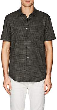 John Varvatos Men's Geometric-Print Cotton Poplin Shirt