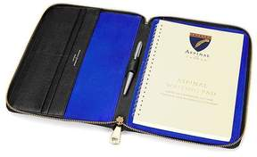 Aspinal of London A5 Zipped Padfolio In Black Saffiano Cobalt Blue Suede