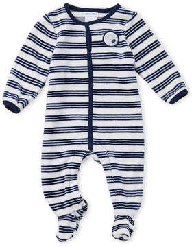 Absorba Newborn Boys) Velour Striped Footie