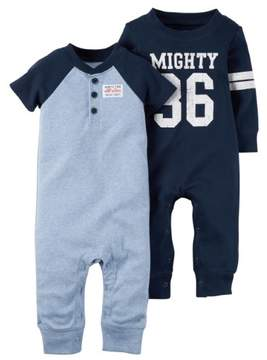 Carter's Baby Boys 2-Pack Cotton jumpsuits Coveralls Set Blue