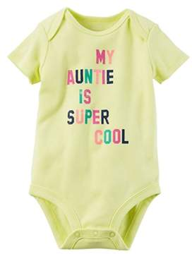 Carter's Baby Girls Super Cool Auntie Collectible Bodysuit Yellow