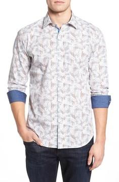Bugatchi Men's Shaped Fit Layered Print Sport Shirt