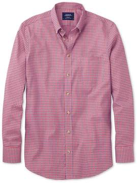Charles Tyrwhitt Slim Fit Non-Iron Poplin Coral and Navy Check Cotton Casual Shirt Single Cuff Size XS