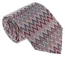 Missoni U4914 Red/silver Chevron 100% Silk Tie.