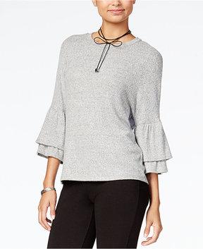 BCX Juniors' Tiered Bell-Sleeve Sweater