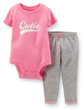 Carter's Baby Clothing Outfit Girls 2-Piece Bodysuit & French Terry Pant Set - Pink/Heather
