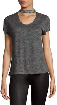 Generation Love Women's Liana Crystal Choker Linen Top