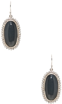 Elizabeth Showers Women's Anna Silver, White Moonstone, Hematite, & White Sapphire Oval Drop Earrings