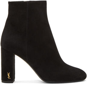 Saint Laurent Black Suede LouLou Zipped Boots