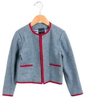 Oscar de la Renta Girls' Wool Herringbone Jacket