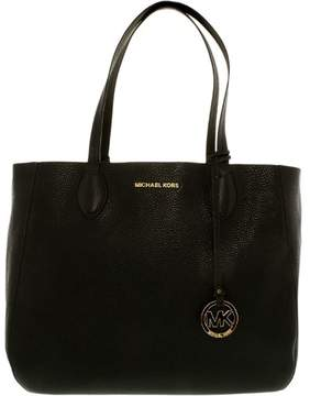 Michael Kors Women's Large Mae Soft Leather Carryall Shoulder Bag Tote - Black/Pale Gold - BLACK/PALE GOLD - STYLE
