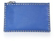 VALENTINO GARAVANI Rockstud Grained Leather Zip Pouch
