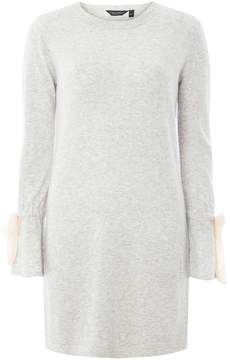 Dorothy Perkins Grey Knitted Tie Sleeve Tunic Jumper