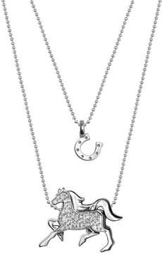 Alex Woo Sterling Silver Mini Horseshoe & Diamond Horse Pendant Necklace - Set of 2 - 0.04 ctw