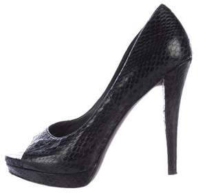 Vera Wang Embossed Peep-Toe Pumps