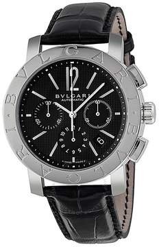 Bvlgari Black Dial Chronograph Black Leather Automatic Men's Watch