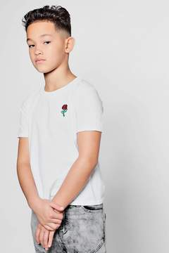 boohoo Boys Rose Embroidered T-Shirt