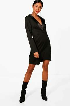 boohoo Wrap Over Tuxedo Dress