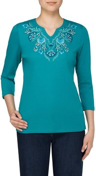 Allison Daley Floral Embroidered Notch V-Neck Knit Top