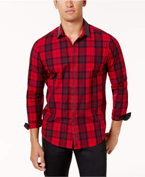 INC International Concepts I.n.c. Men's Beaded-Trim Plaid Shirt, Created for Macy's