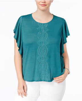 Eyeshadow Trendy Plus Size Flutter-Sleeve Top