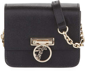 Versace Small Saffiano Leather Crossbody Bag with Medusa, Black