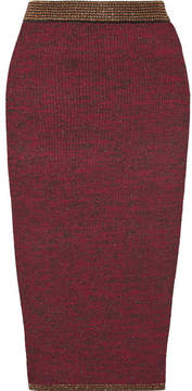 By Malene Birger Vivenda Metallic Ribbed Stretch-knit Midi Skirt - Burgundy