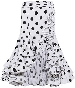 Caroline Constas Giovanna Asymmetric Ruffled Polka-dot Cotton Skirt - White