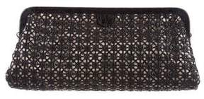 Nancy Gonzalez Crocodile Woven Frame Clutch