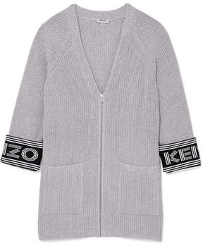 Kenzo Cotton-blend Cardigan - Light gray