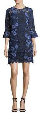 Shoshanna Jemima Bell-Sleeve Lace Shift Dress