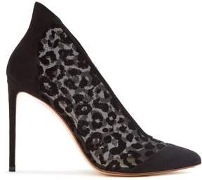 Francesco Russo Leopard-print point-toe velvet-devoré pumps