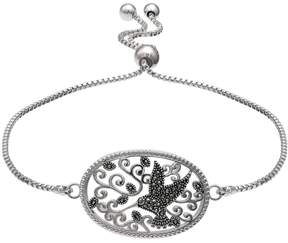 Brilliance+ Brilliance Silver Plated Marcasite Hummingbird Bolo Bracelet