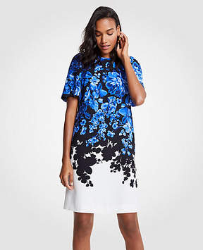 Ann Taylor Tall Floral Toile Flare Sleeve Shift Dress
