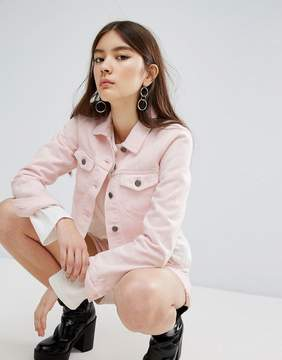 Dr. Denim Cropped Frayed Pink Jacket