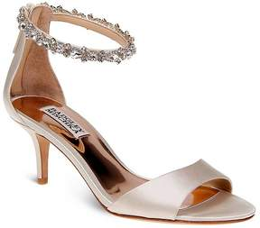 Badgley Mischka Geranium Embellished Ankle Strap Mid Heel Sandals