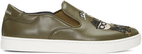 Dolce & Gabbana Green Designers Slip-On Sneakers