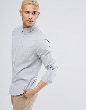 Hollister Logo Pocket Buttondown Oxford Slim Fit Shirt in Gray