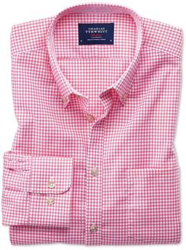 Charles Tyrwhitt Slim Fit Button-Down Non-Iron Oxford Gingham Pink Cotton Casual Shirt Single Cuff Size XS