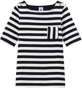 Petit Bateau Girl's striped elbow sleeve T-shirt